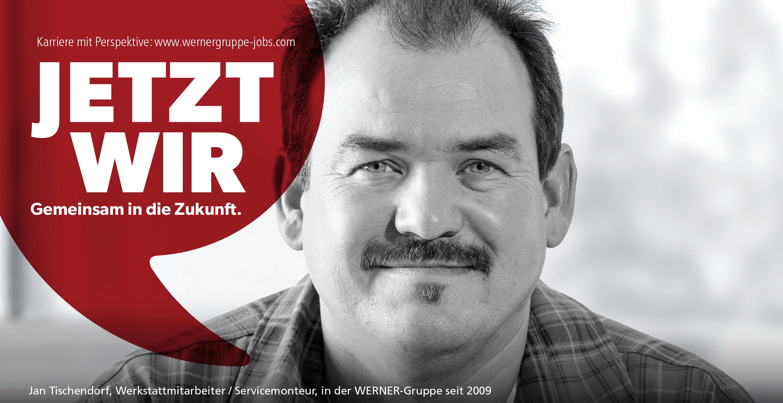 Banner with text: Jetzt wir, gemeinsam in die Zukunft.