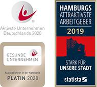 HAMBURGS ATTRAKTIVSTE ARBEITGEBER 2019 - STARK FÜR UNSERE STADT - statista - GESUNDE UNTERNEHMEN - PLATIN 2020