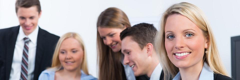 Smiling employees